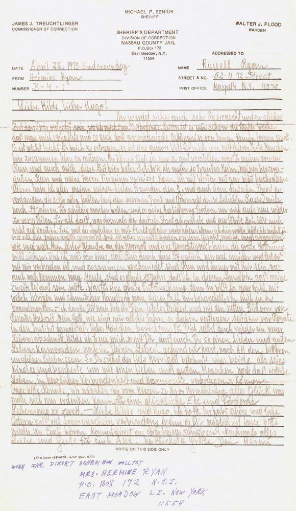 Brief verfasst von Hermine Braunsteiner-Ryan aus dem Nassau County Gefängnis, USA, 1973